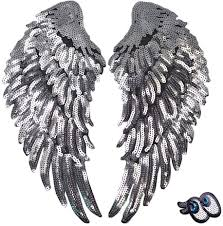 Angel Wings Applique Design Loveinusa Sequin Wings Set 2 Pcs Sequins Patches Silver Applique Wing Applique Iron On Wings Chanel Patches For Clothes Jackets Jeans Dress Hat Diy