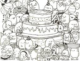 Small Picture Adult coloring page Happy Birthday Doodle cake 9 Happy