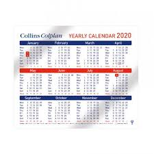 Calendar Yearly 2020 Collins 2020 Yearly Calendar For Wall Or Desktop Landscape 210x260mm White Cds1 2020
