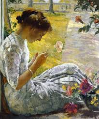posing with posies paintings of women and flowers edmund tarbell american painter mercie cutting flowers 1912