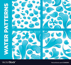 Drops Patterns Amazing Water Drops And Splashes Seamless Patterns Vector Image