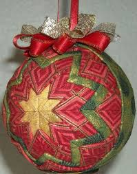 183 best No Sew Quilted Ornaments images on Pinterest | Christmas ... & Handmade Quilted Folded Star Ball Ornament Christmas | eBay Adamdwight.com
