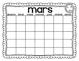 French Blank Calendar Templates