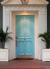 house front door handle. Attractive Blue Front Door Design Idea With White Wall Gold Handle And Green Plants In The Pots House E