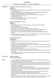 Transaction Monitoring Resume Sample Monitoring Analyst Resume Samples Velvet Jobs 1