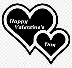 happy valentine s day clip art black and white. Double Heart Clip Art Happy Valentines Day Black And White On Valentine