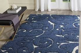 minimalist navy blue area rug at cool and white of