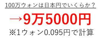 100 万 ウォン 日本 円