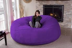 purple furniture. Chill Sack Bean Bag Chair: Giant 8\u0027 Memory Foam Furniture-Micro Fiber Cover Purple Furniture V