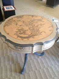 round accent table painted with chalk paint in graphite and coco painted accent tables