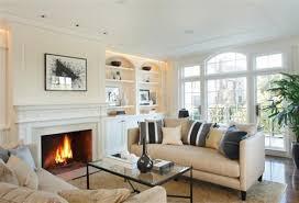 nice fireplace & shelves