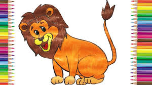 lion drawing color. Brilliant Lion How To Draw Lion Coloring Pages Animals For Kids Art Colors Children  And Toddlers And Drawing Color YouTube