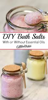 diy bath salts shown in jars with wooden spoon and a close up image with text