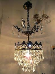 antique mini chandelier vintage basket style lamp 9 in silver