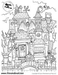 Small Picture Haunted House Coloring Page Tims Printables