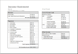 excel income statement ms excel income statement editable printable template excel templates
