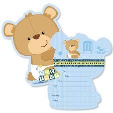 Baby Boy Teddy Bear Shaped Fill In Invitations Baby Shower