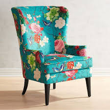 Blue Patterned Chair Enchanting Asher Flynn Floral Print Chair Pier 48 Imports