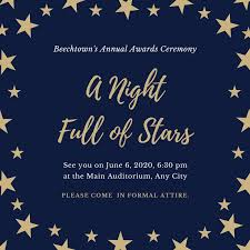 Stars Invitation Template Blue And Gold Patterned Stars Awards Night Invitation