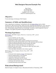 Resume Format For Web Designer 15 19 Cover Letter Usajobs Example