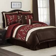 Red And Brown Bedroom Red And Brown Nature Print Comforter Sets With Brown Wooden