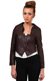stylish leather jacket in brown color for women jkf1359