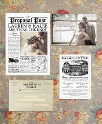 Wedding Invitation Newspaper Template Vintage 1920s Inspired Newspaper Wedding Invitation Suite