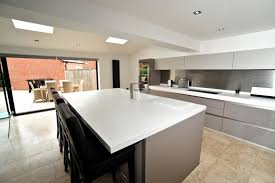 Handleless Kitchen With Island Breakast Bar Keller Design Pertaining To  Centre Designs Ideas 9