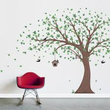 large printed birdhouse windy tree wall decal