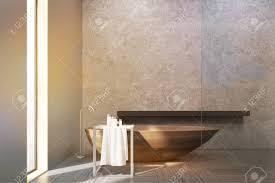 Innenraum Eines Badezimmers Mit Einem Schmalen Fenster Holzkübel
