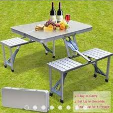 foldable aluminum picnic table with 4 seats suitable for indoor and outdoor grey