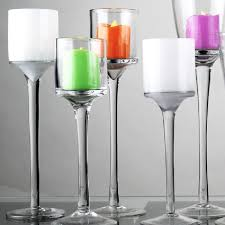 both clear and frosted white glass stemmed votive candle holders are excellent for tealights and led