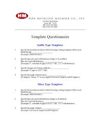 Template For Questionnaire Template Questionnaire H M Pipe Beveling Machine Company Inc