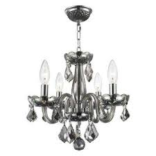 clarion collection 4 light polished chrome smoke crystal chandelier