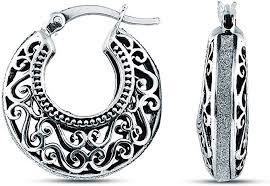 Charmsy <b>Sterling Silver Jewelry</b> Filigree Cut Click Top Hoop <b>Earring</b> ...