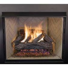 charred river oak vented natural gas fireplace logs set