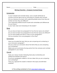 Essay Of Comparison And Contrast Examples Compare Contrast Checklist Essay Writing Help Writing