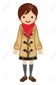 ショートヘアの女子高生 冬のファッションのイラスト素材ベクタ