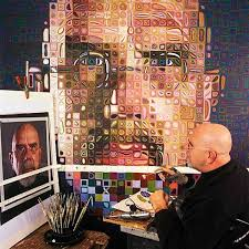chuck close working on a self portrait 2004 05