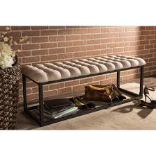 baxton studio zephyr tufted coffee table ottoman bench with black metal base