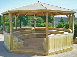 outdoor classrooms and shelters for teaching and quiet chill out play areas in schools