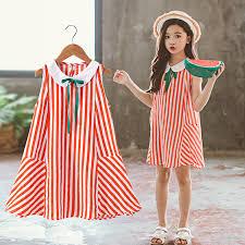 <b>Girls Dress Summer 2019</b> Sleeveless Striped Kids Dresses Cotton ...