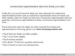 construction superintendent interview thank you letter in this file you can ref interview thank you superintendent cover letter