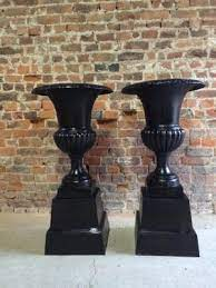 large french cast iron garden urns