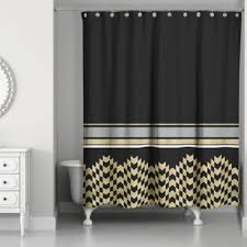 white and black shower curtain. Chic Weighted Shower Curtain In Black/Gold White And Black U
