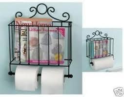 Toilet Roll Holder Magazine Rack Metal Toilet Roll Tower Paper Holder Magazine Rack Cream Black 3