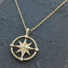 14k gold diamond compass rose necklace