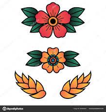 Oldschool Traditionelle Tätowierung Vektor Blüten Mit 5