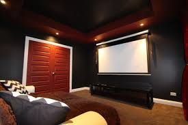 Interior Good Looking Dark Blue Home Theater Room Feature Modern Best Color For Home Theater Room