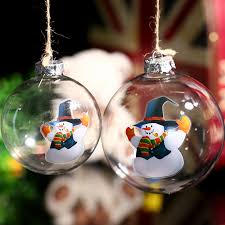 Decorating Christmas Ornaments Balls Clear Glass Ball Christmas Ornament Snowman in Blue Hat 64